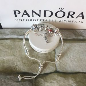 Pandora slide charm bracelet w charms